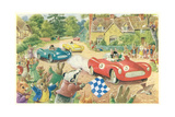 Rabbits in Race Cars Print