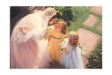 Bride and Two Flower Girls Poster
