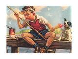 Young Boy Fishing Kunstdrucke