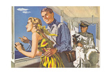 1950s Couple in Cockpit of Cruise Ship Prints