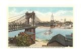Suspension Bridge over Ohio River Poster