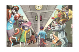 Crazy Cats Boarding the Train Prints