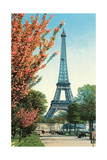 Eiffel Tower, Peach Blossoms Art