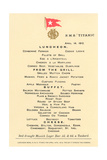 Lunch Menu on the Titanic Prints