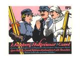 German Skiers Smoking Prints