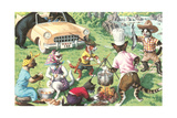 Crazy Cats at Picnic with Bears Posters