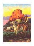 Cowboy, Indian, Covered Wagons Print