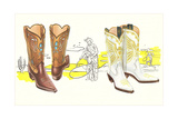 Two Pair of Fancy Cowboy Boots Posters