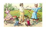 Cat Family with Hula Hoops Prints