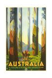 Australia Travel Poster, Trees Kunstdruck