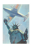 Plane over Statue of Liberty Print