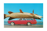 Stationwagon with Giant Trout Posters