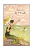 Greetings from Hawaii, Mermaid Print