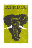 Travel Poster for Africa, Elephant Prints