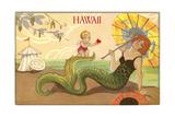 Art Deco Mermaid on Beach Poster