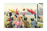 Crazy Cats Playing Soccer Art