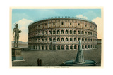 Rome, Italy, Rendering of Restored Coliseum Poster