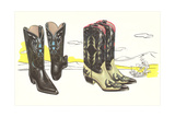 Two Pair of Fancy Cowboy Boots Prints