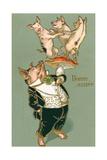 Bonne Annee, Dancing Pigs Posters