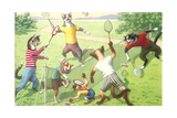 Crazy Cats Playing Badminton Prints