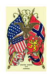 Flags of United States and Norway Kunstdruck