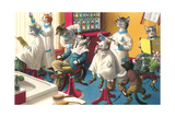 Crazy Cats at the Barber Shop Poster