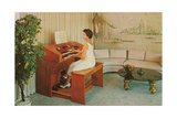 Woman at Home Organ Print