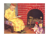 Little Girl Reading to Dolls Prints