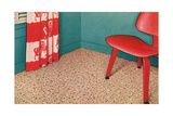 1950s Corner Interior with Red Chair and Curtains Posters