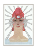 Art Deco Woman with Laurel Wreath and Red Hat Prints
