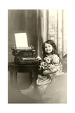 Little Girl and Old Typewriter Posters