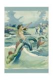 Mermaid Riding Sea Serpent Prints