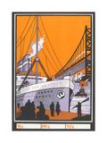 Ocean Liner by Bridge Print