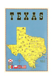 Map of Texas, Flags Art