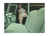 Green Car Interior with Dressed Up Woman Posters