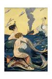 Mermaids Watching Ocean Liner Poster