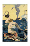 Mermaids Watching Ocean Liner Poster