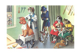 Crazy Cats at the Dog Groomer Posters