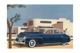 1940s Blue Sedan Automobile Art