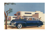 1940s Blue Sedan Automobile Art