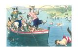 Crazy Cats Fishing Prints
