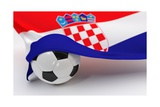 Croatia Flag with Championship Soccer Ball Posters by  BarbraFord