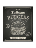 Burger House Poster on Chalkboard Premium Giclee Print by  hoverfly