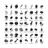 Set of Fruits and Vegetables Icons Poster by  strejman