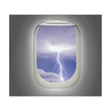 Aircraft Window with View of Lightning Strike Prints by Steve Collender
