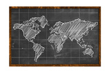 World Map Chalk Drawing Blackboard Prints by  NatanaelGinting