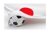 Japan Flag with Championship Soccer Ball Art by  BarbraFord