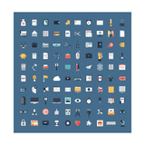 Business and Finance Flat Icons Big Set Premium Giclee Print by  bloomua