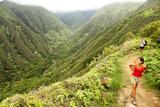 Hiking People on Hawaii, Waihee Ridge Trail, Maui, USA Photographic Print by  Maridav