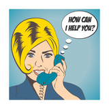 Woman Chatting on the Phone, Pop Art Illustration Plakater af Eva Andreea